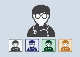 Doctor with stethoscope web icon vector