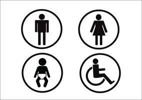 Símbolo de banheiro ícone de deficiência de mulher de homem e criança