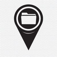 Map Pointer Folder Icon vector