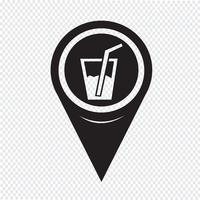 Mapa ponteiro bebida ícone