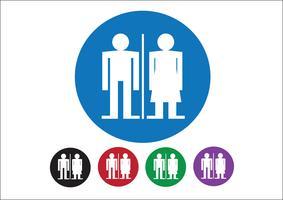 Pictograma hombre mujer muestra iconos, signo de baño o icono de baño