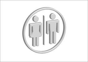 3D pictograma homem mulher ícones de sinal, sinal de banheiro ou ícone de banheiro