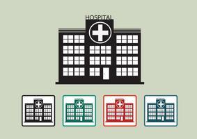 Hospital, predios, ícone, desenho, ilustração