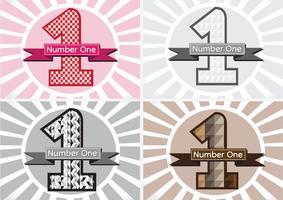 Número um e o vencedor primeiro lugar sinal simbol com fitas