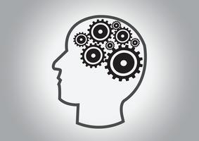 Cabeza humana y concepto de idea de cerebro de engranajes