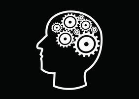 Human head and gears brain idea concept