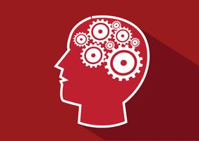 Concetto di idea del cervello degli ingranaggi e della testa umana