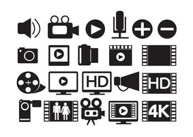 iconos de video película multimedia