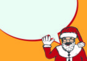 Santa Claus for Christmas hand drawn and talking Speech Bubble