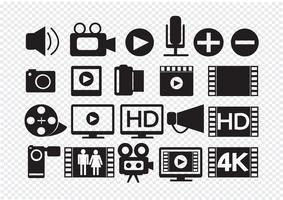 Ícones de multimídia de filme de vídeo