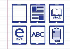 E-book reader  and e-reader icons set