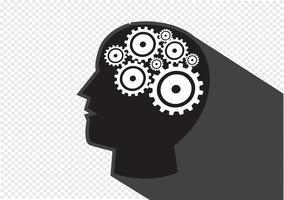 Tête humaine et engrenages cerveau idée concept vecteur