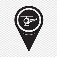 Map Pointer Helicopter Icon vector