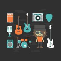 rock musician and music instrument vector