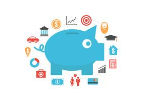 piggy bank with icon