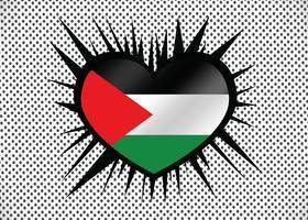 Corazón y me encanta el diseño de idea de la bandera de la Franja de Gaza vector