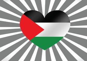 Corazón y me encanta el diseño de idea de la bandera de la Franja de Gaza