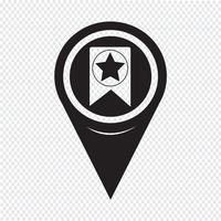 Map Pointer Web Bookmark Ribbon Icon