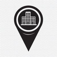 Kaart aanwijzer gebouw pictogram
