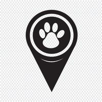 Map Pointer paw print icon