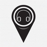 Map Pointer Headphone Icon