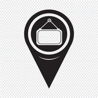 Ícone de rótulo em branco de ponteiro de mapa vetor