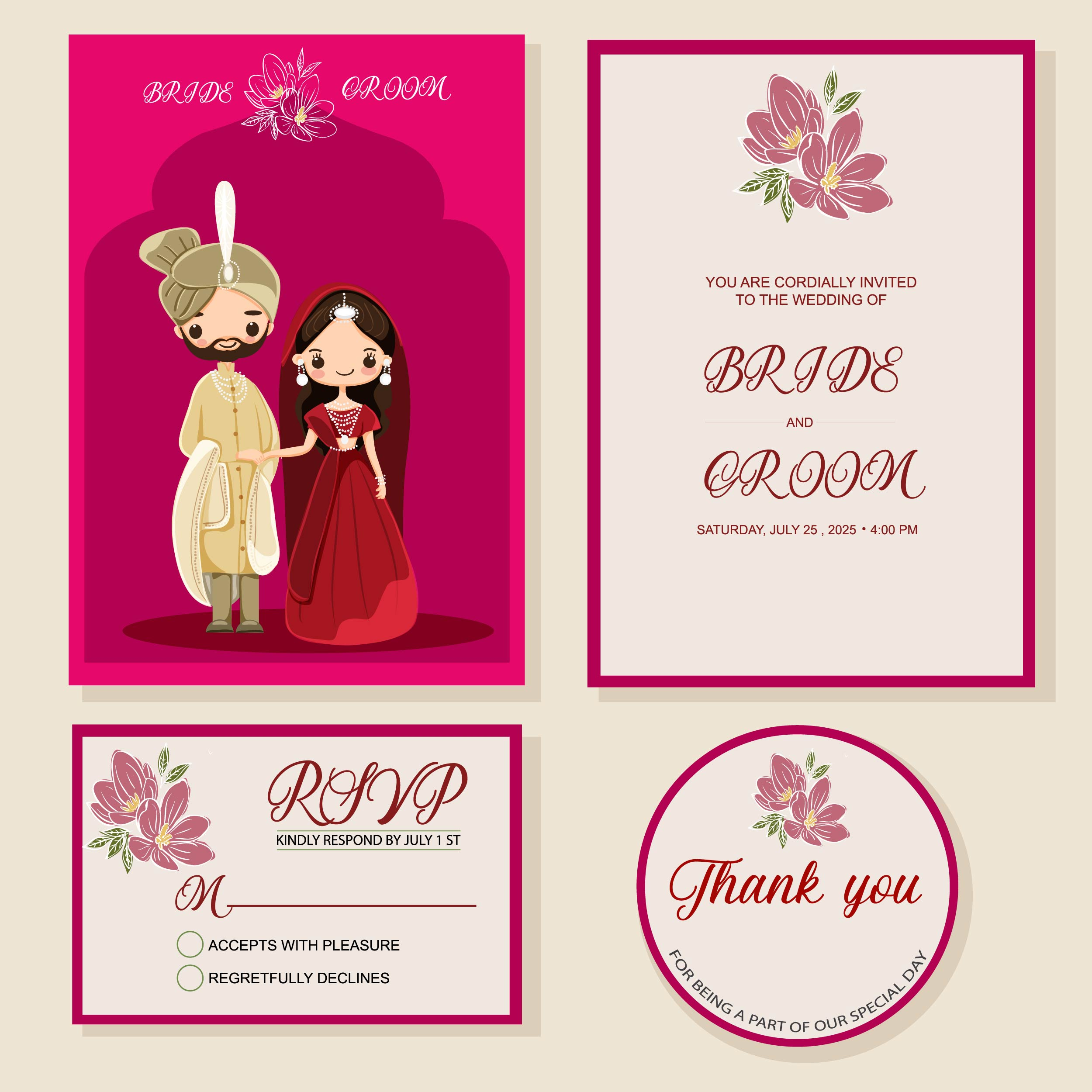 cute Indian bride and groom on wedding invitations card template