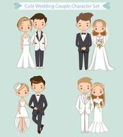 cute bride and groom in wedding dress cartoon character collection vector