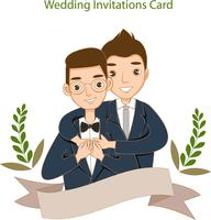 cute LGBT couple for wedding invitation card