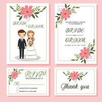 cute bride and groom on wedding invitations card template