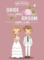 cute bride and groom for wedding invitations card vector