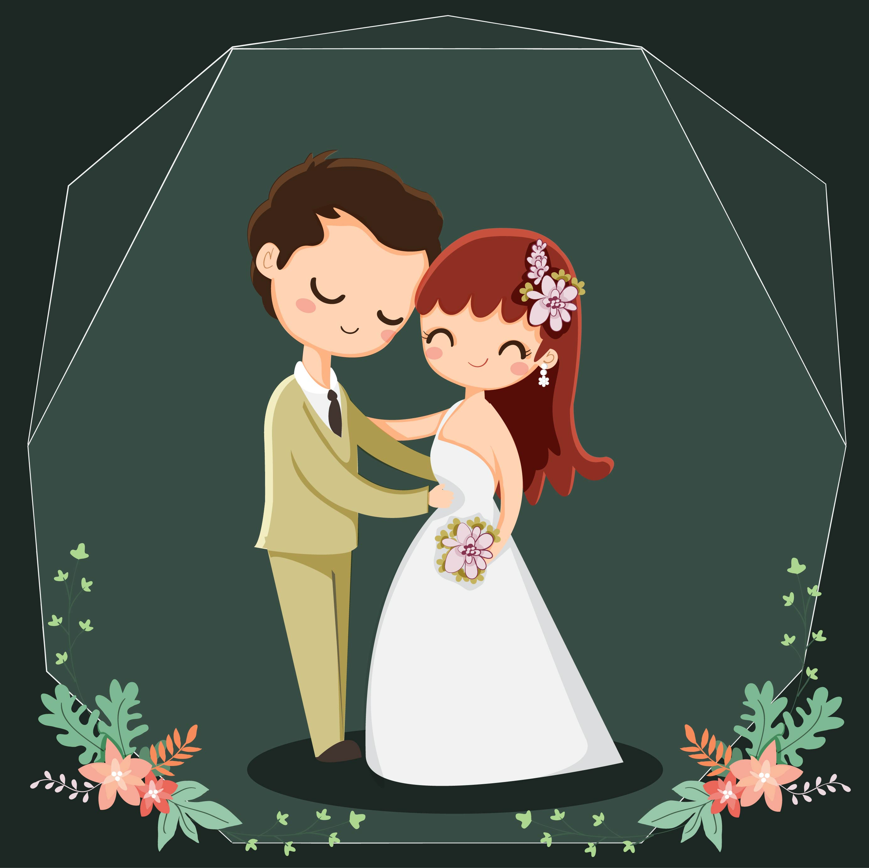 Cute Couple Cartoon Character For Wedding Invitations Card Vector
