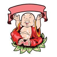 Budha feliz vector con capas editables