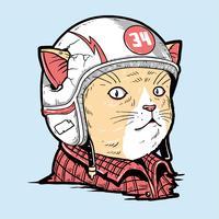 Camada editável do gato cute racer 34 vector