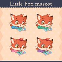 Cute baby fox mascot set - surprised pose
