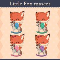 Cute baby fox mascot set - happy pose