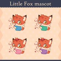Cute baby fox mascot set - mischievous pose