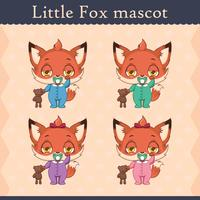 Conjunto de mascote de raposa bebê fofo - pose sonolento