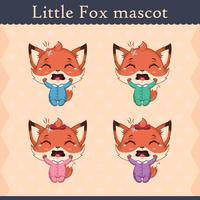 Cute baby fox mascot set - crying pose