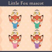 Conjunto de mascote de raposa bebê fofo - pose distraída
