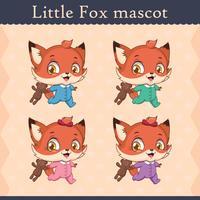 Conjunto de mascote de raposa bebê fofo - executando pose