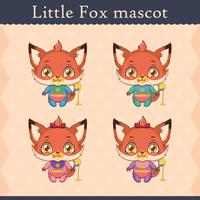 Cute baby fox mascot set - eating pose
