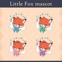 Conjunto de mascote de raposa bebê fofo - pose de dormir