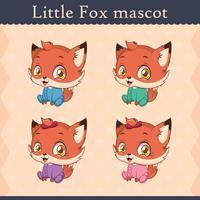 Conjunto de mascote de raposa bebê fofo - sentado pose