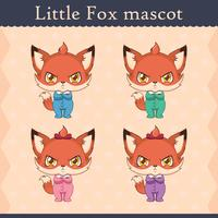 Cute baby fox mascot set - pouting pose