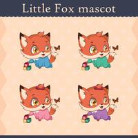 Cute baby fox mascot set - curious pose
