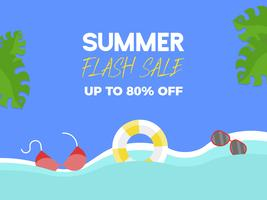 Summer Flash Sale, elementos de verano en la playa.