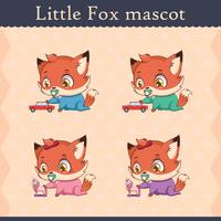 Conjunto de mascote de raposa bebê fofo - jogando pose
