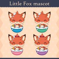 Cute baby fox mascot set - bathing pose