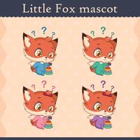 Cute baby fox mascot set - thinking pose